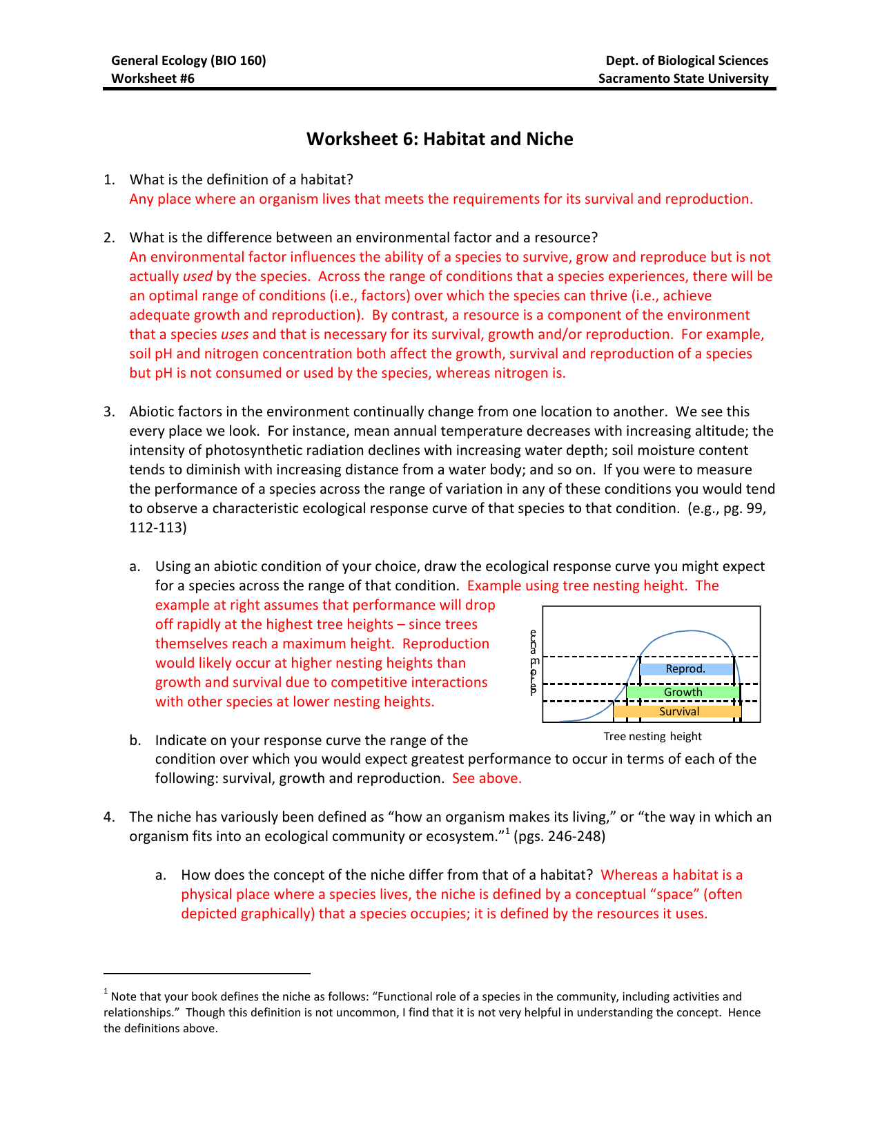 Worksheet 6: Habitat and Niche