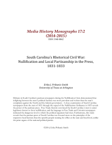 South Carolina`s Rhetorical Civil War - Elon University