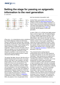 Setting the stage for passing on epigenetic information to the next