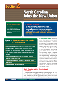 North Carolina Joins the New Union North Carolina Joins the New