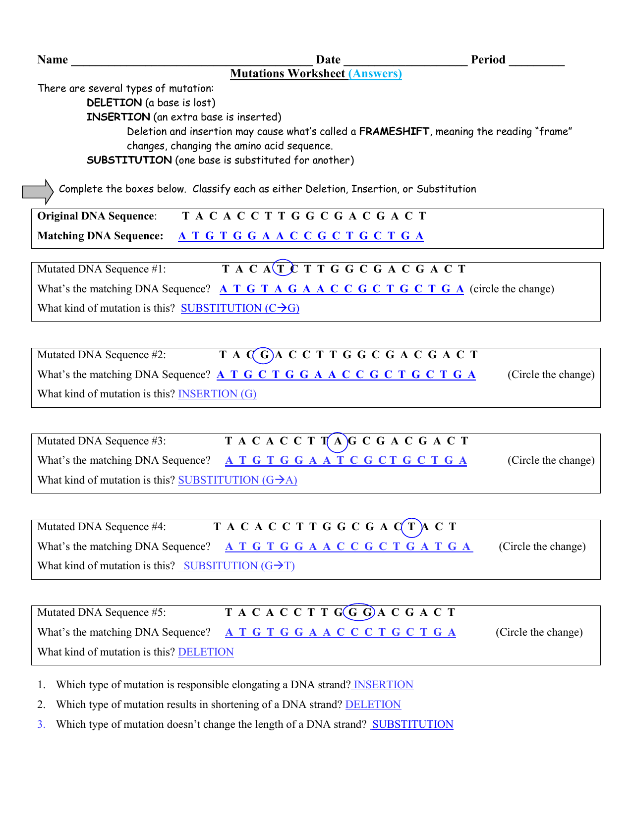 worksheet. Mutations Worksheet Answers. Grass Fedjp Worksheet Study Site