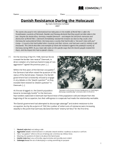 CommonLit | Danish Resistance During the Holocaust