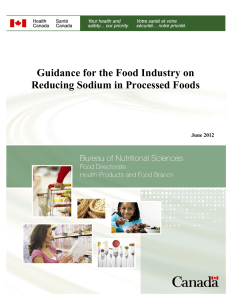 Guidance for the Food Industry on Reducing Sodium in Processed