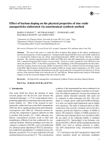 Effect of barium doping on the physical properties of zinc oxide