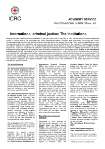 International criminal justice: The institutions