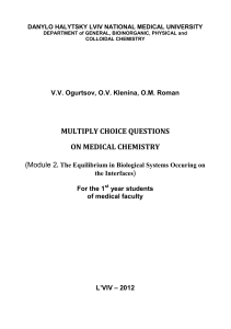 MULTIPLY CHOICE QUESTIONS ON MEDICAL CHEMISTRY