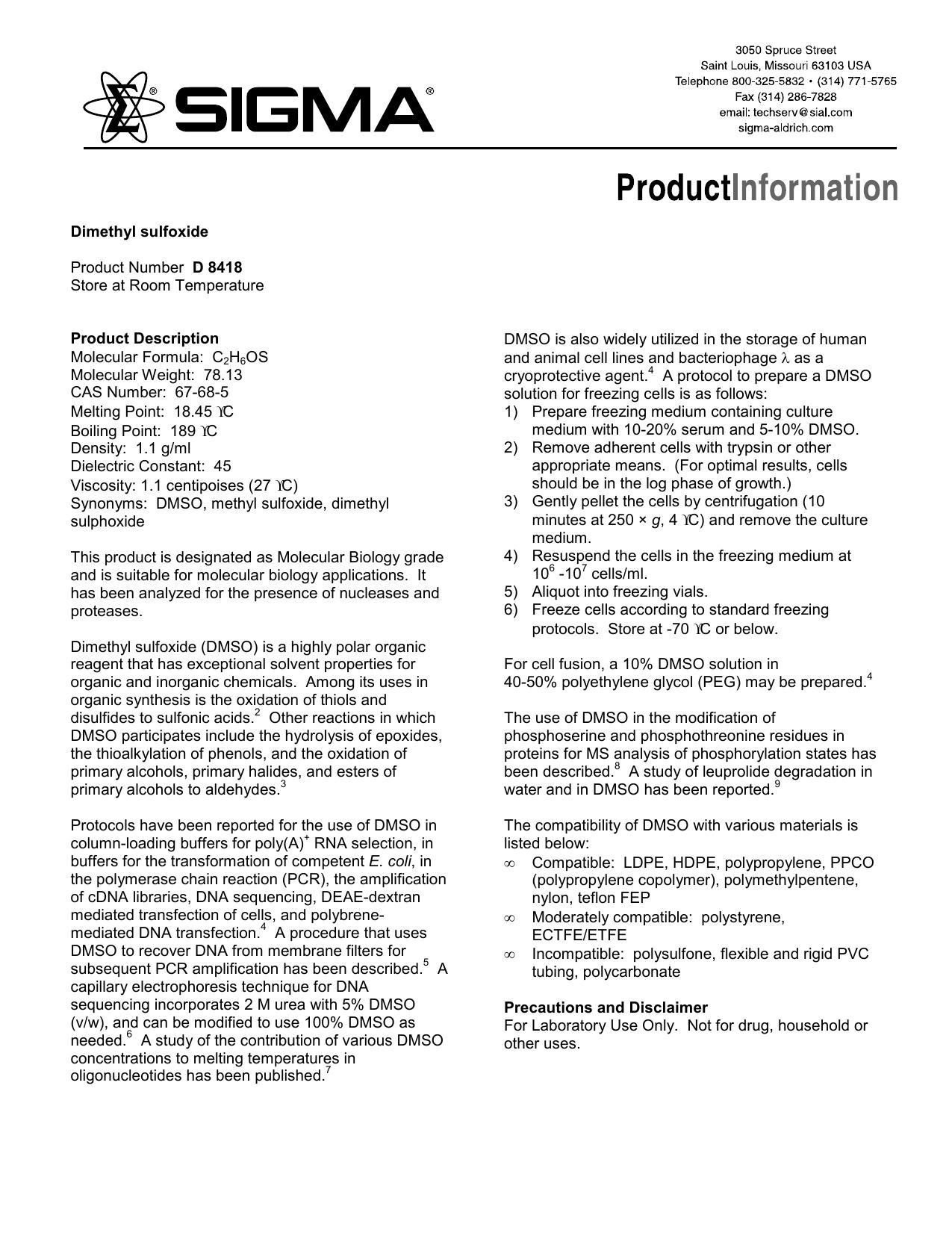 Dimethyl sulfoxide (D8418) - Product Information - Sigma
