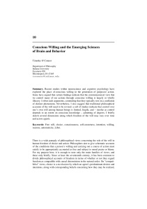 Conscious Willing and the Emerging Sciences of Brain and Behavior