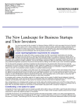 The New Landscape for Business Startups and Their Investors