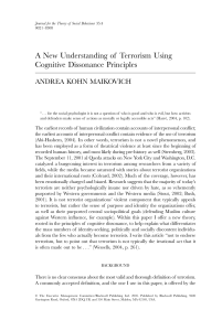 A New Understanding of Terrorism Using Cognitive Dissonance