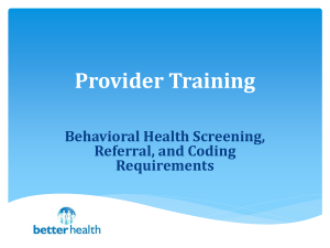 Behavioral Health Screening