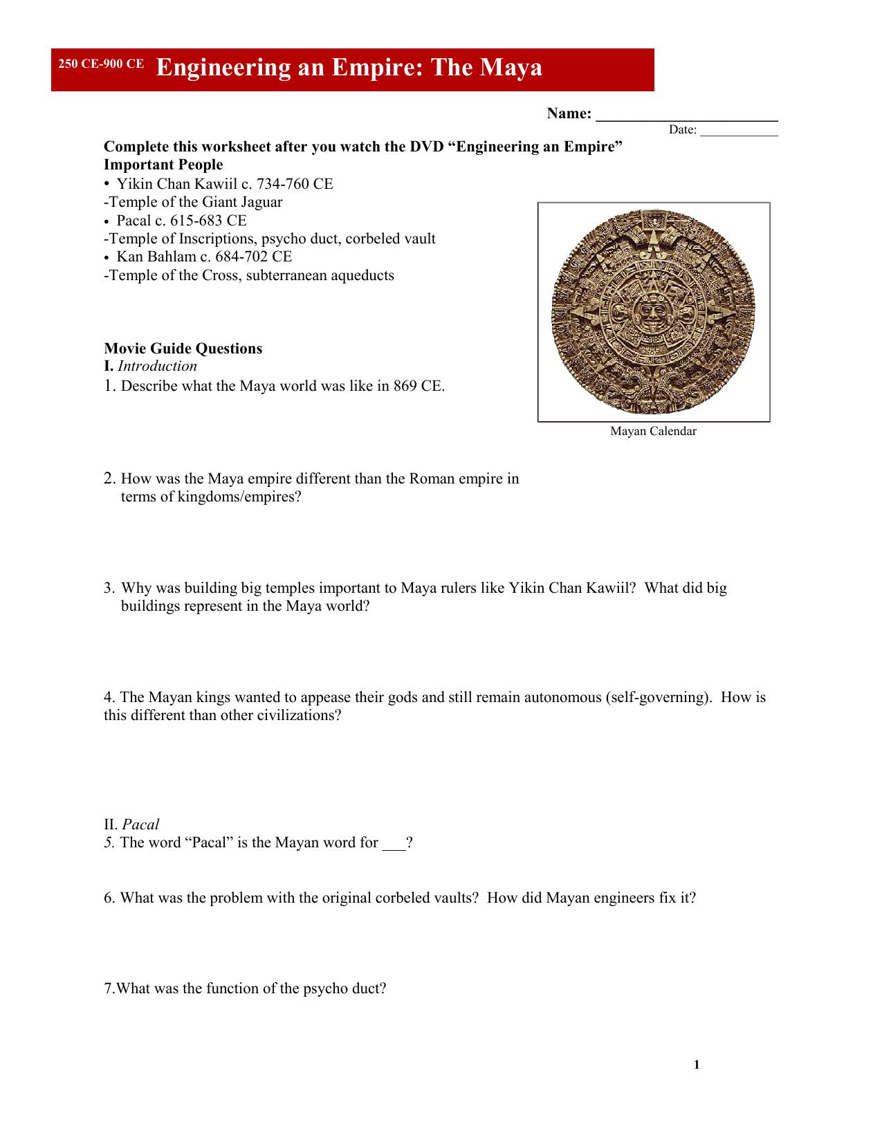 Engineering an Empire The Maya Worksheet - Reeths