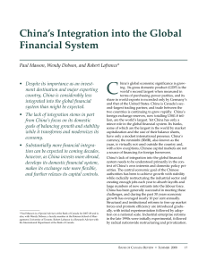 China`s Integration into the Global Financial System