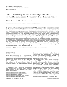 Which neuroreceptors mediate the subjective effects of MDMA in
