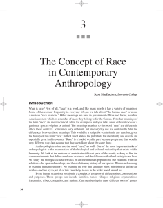 The Concept of Race in Contemporary Anthropology