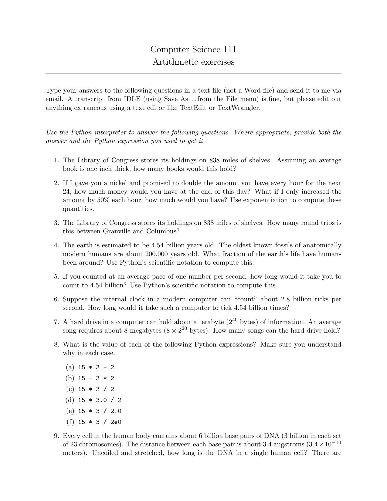 Computer Science 111 Artithmetic exercises