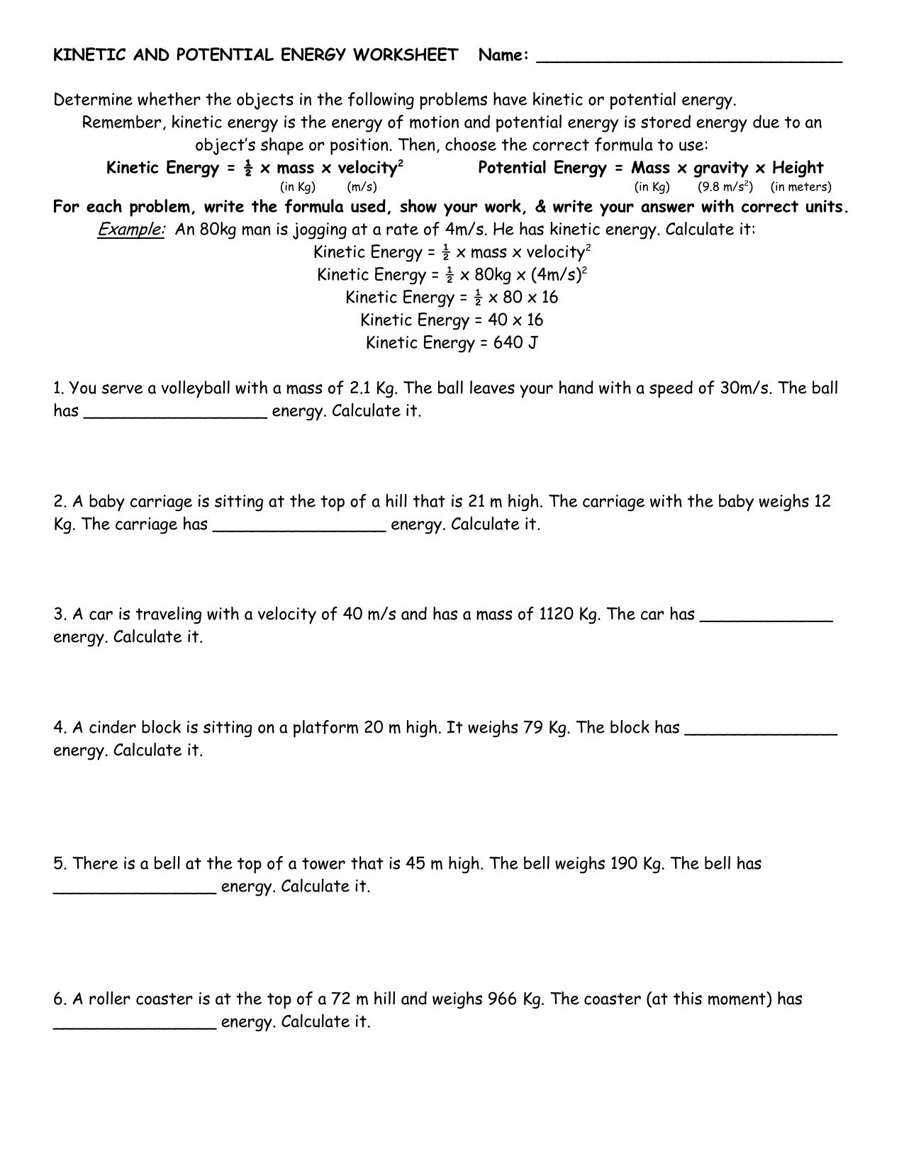 worksheet Kinetic Energy Worksheet potential vs kinetic energy worksheet etfs 5th grade third