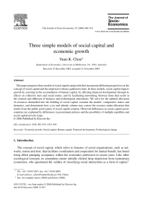 Three simple models of social capital and economic growth