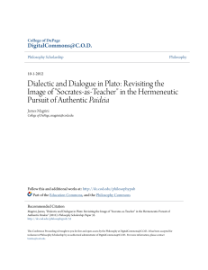 "Dialectic and Dialogue in Plato: Revisiting the Image of ""Socrates"