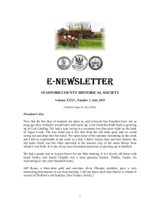 e-newsletter newsletter newsletter - Stafford County Historical Society