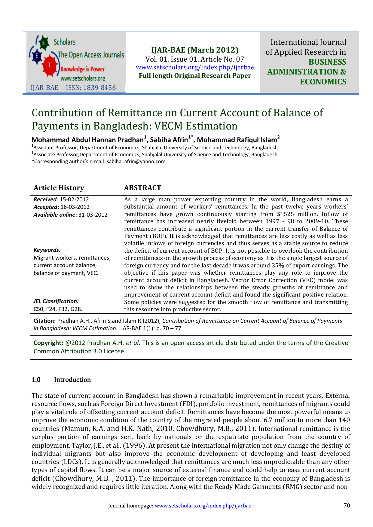Contribution of Remittance on Current Account of Balance of
