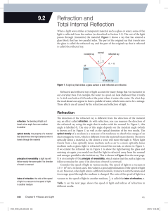 9.2 refraction and total internal reflection