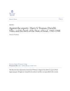 Against the experts : Harry S. Truman, David K. Niles, and the birth