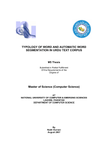 Typology of Word and Automatic Word Segmentation