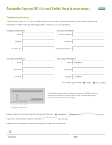 Automatic Payment/Withdrawal Switch Form (Account Number)