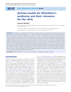 Animal models for Klinefelter`s syndrome and their relevance for the
