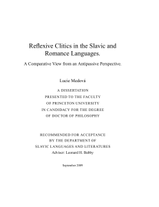 Reflexive Clitics in the Slavic and Romance Languages.