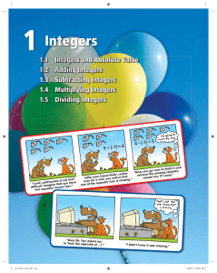 Integers - Big Ideas Math