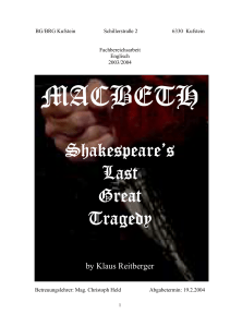 Shakespeare`s Shakespeare`s Last Great Tragedy