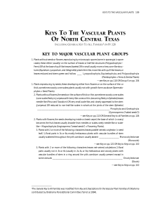 KEYS TO THE VASCULAR PLANTS OF NORTH CENTRAL TEXAS