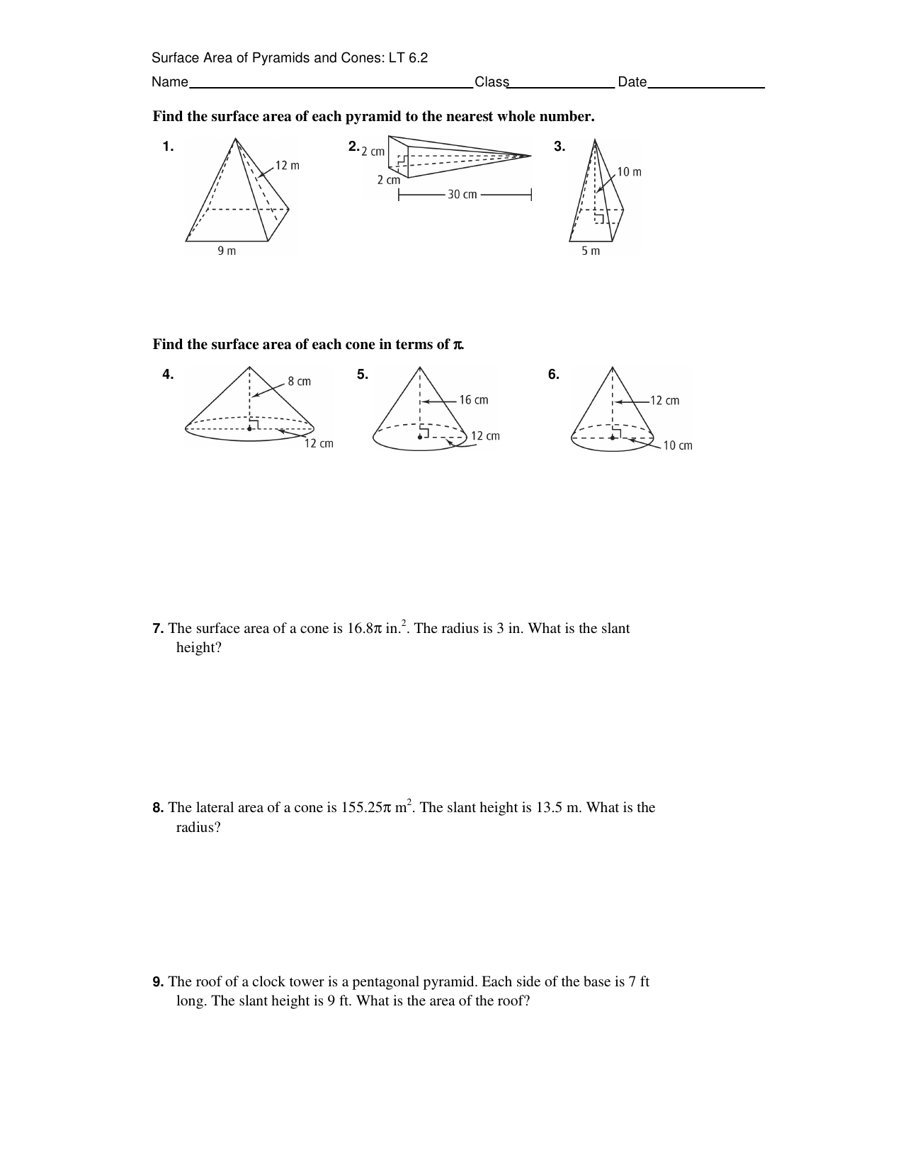 Find the surface area of each pyramid to the nearest whole