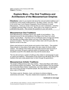 Artistic and Oral Traditions of Mesoamerica