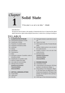 1 Solid State - Unique Solutions