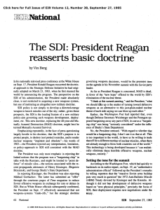 The SDI: President Reagan Reasserts Basic Doctrine