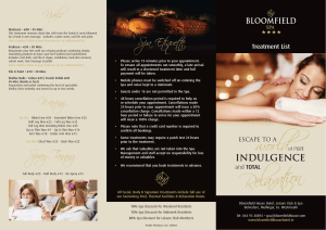 View our Spa Brochure - Bloomfield House Hotel