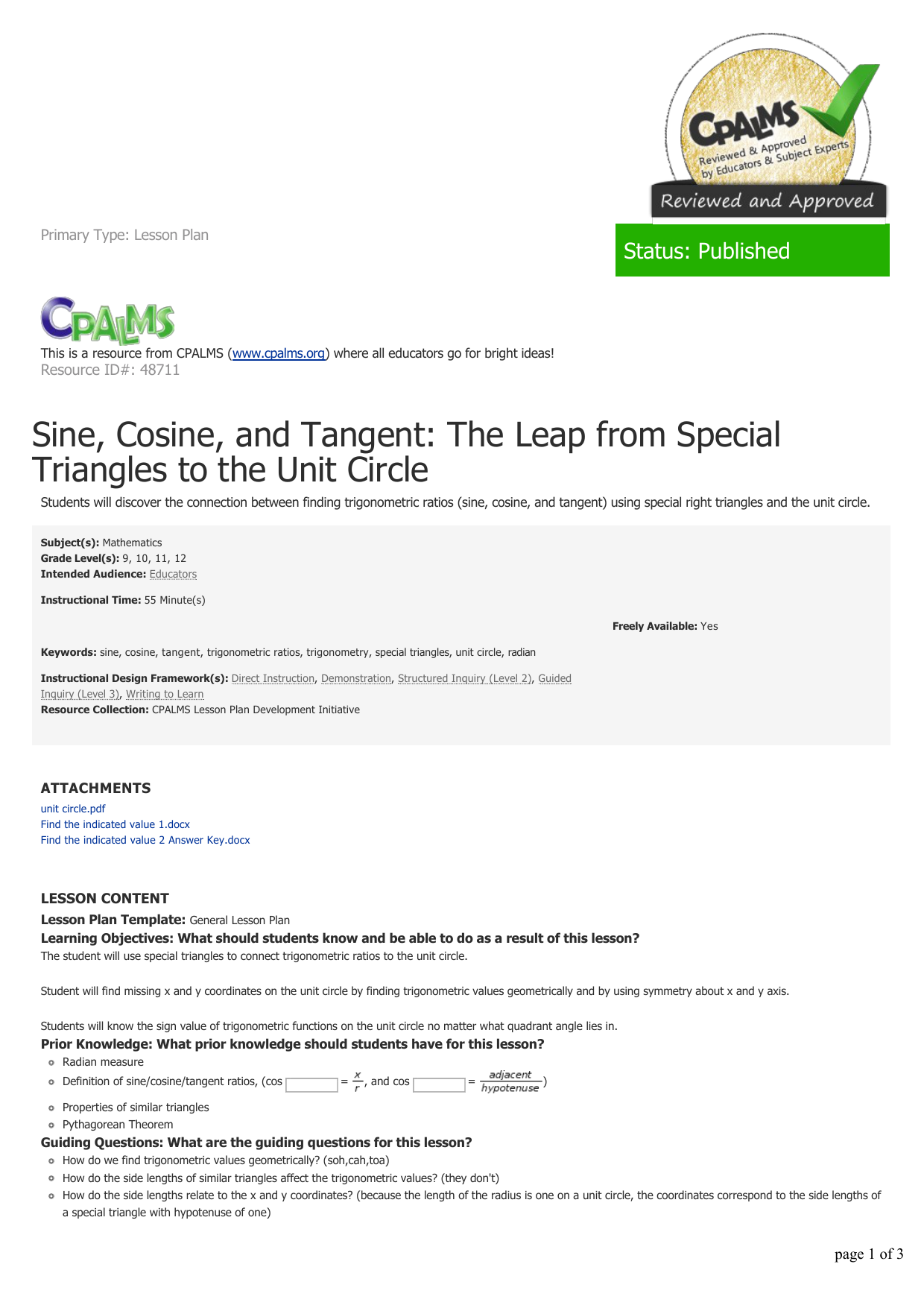 Sine, Cosine, and Tangent: The Leap from Special