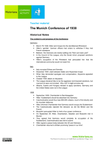 The Munich Conference of 1938 - Learning