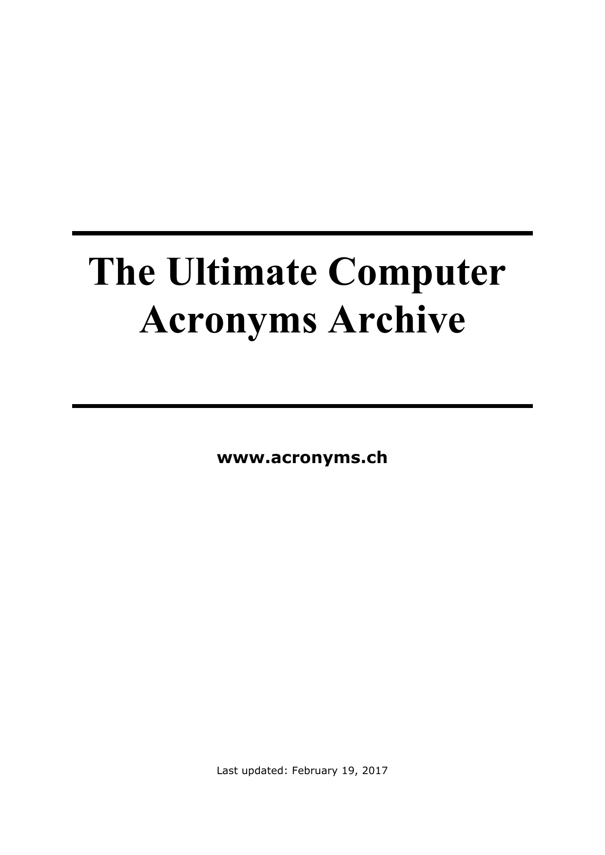 The Ultimate Computer Acronyms Archive