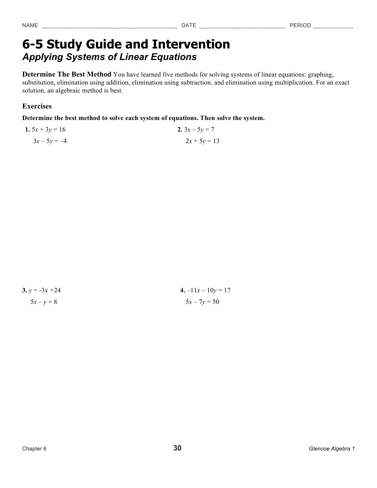 6-5 Study Guide and Intervention Applying Systems of Linear
