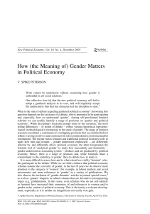 How (the Meaning of) Gender Matters in Political Economy