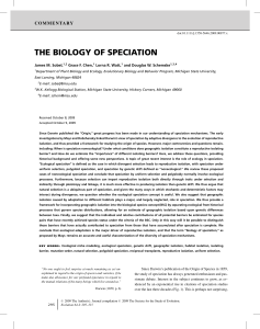 the biology of speciation