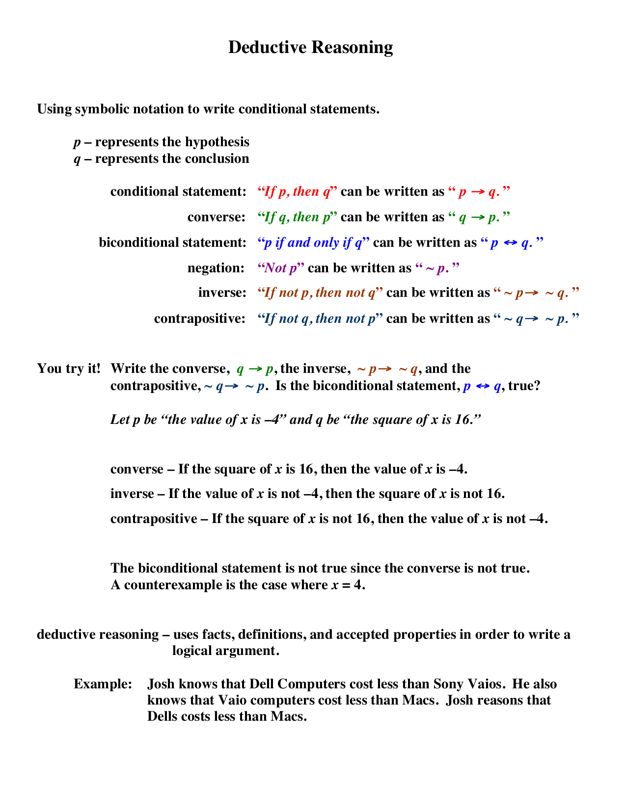 Deductive Reasoning And Proof Worksheets