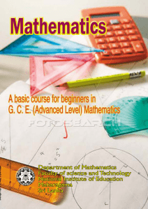 A basic course for beginners in G.C.E. A/L Mathematics-English