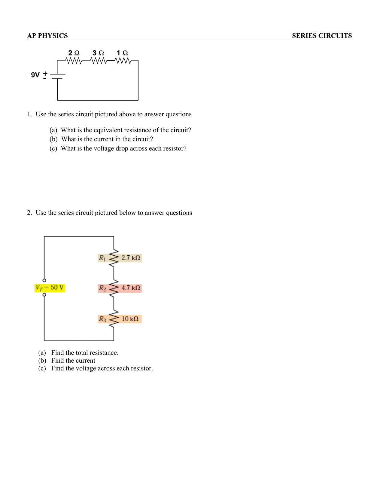 Ap Physics Series Circuits 1 Use The Circuit Pictured Total Resistance In A How Can