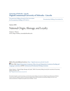 National Origin, Alienage, and Loyalty