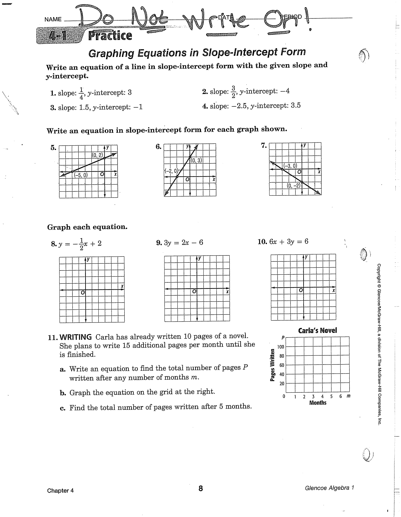 slope intercept form quiz doc  Graphing Equations in Slope-Intercept Form ~--